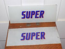"""Vintage Pair Of Nos """"super"""" Gas Station Pump Glass Signs"""