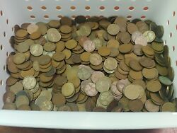 Huge Lot Of 1000 1920and039s All D Mint Marked Lincoln Wheat Pennies Estate Find