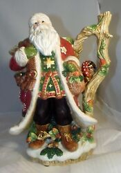 Fitz And Floyd Christmas Lodge Santa Claus Pitcher And Salt Pepper Shakers Set Mint
