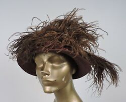 Edwardian Late Teens Brown Straw Hat W Silk Satin And Feather Trims