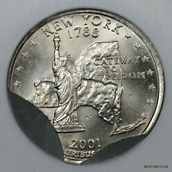 Ngc Ms63 Double Curved Clipped Planchet Mint Error 2001-p New York State Quarter