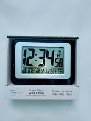 💥new Mainstays Atomic Digital Wall Clock With Built In Temp /calender