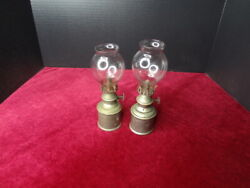 2 Antique Brass French Olympe Pigeon Oil Lamp With Glass Chimneys