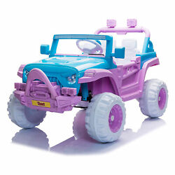 Tobbi 12v Battery-powered Ride On 3 Speed Toy Suv Car, Blue/purple For Parts