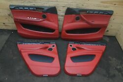 Set 4 Front Rear Door Trim Panel Red Leather 51417846995 Oem Bmw X6m E71 2010-14