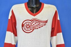 Vintage 70s Detroit Red Wings White Red Hockey Jersey Foghat T-shirt Small S