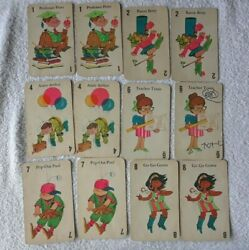 Vintage 1960's Retro Jumbo Old Maid Card Game Mb Incomplete 1968 33 Cards