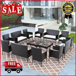 16/8pcs Patio Rattan Furniture Set Sectional Conversation Sofa With Coffee Table