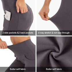 Cluci High Waist Yoga Pants Women Work Workout Bootcut With 4 Pockets Tummy Cont