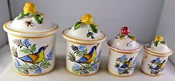 Hand Painted Vintage Spice 4 Canister Set Bird And Floral