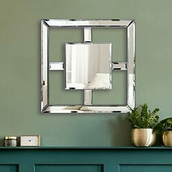 Square Mirrored Wall Decor Decorative Mirror Wall Mounted Accent Silver Fang