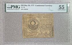 30 May 20 1777 Continental Currency Pmg 55 About Uncirculated Rare Issue