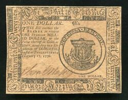 Cc-23 February 17 1776 1 One Dollar Continental Currency Note Uncirculated