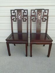 Asian Pair Dining Chairs Hollywood Regency Japanese Chinese Chippendale Ming