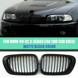 Matte Black Kidney Front Grilles For Bmw E46 325ci 330ci 2 Door Coupe 99-02 New