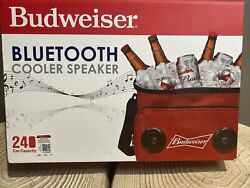 """Budweiser Soft Cooler Bag 13""""x9""""x10"""" With Built In Bluetooth Speakers - Red"""