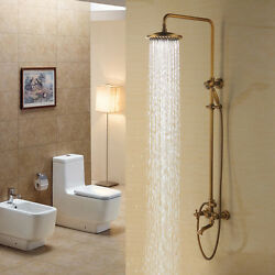 Antique Brass Wall Mounted Shower Head Andhandshower Tap Set Tub Mixer Faucets