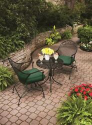 Bistro Set Table And Chairs Outdoor Patio 3-piece Clayton Court Motion Green