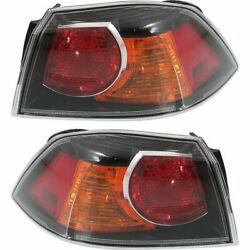 Halogen Tail Light Set For 2009-2017 Mitsubishi Lancer Outer Clear W/bulbs 2pcs