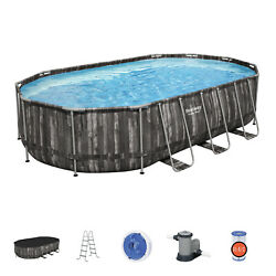 Bestway Power Steel 20x12x4 Ft Above Ground Oval Pool Set W/ Accessory Kitused