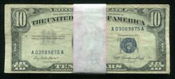 Lot Of 50 1953 10 Blue Seal Silver Certificates Currency Notes Vg-vf B