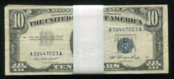 Lot Of 50 1953 10 Blue Seal Silver Certificates Currency Notes Vg-vf