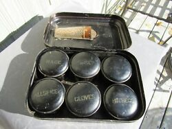 Antique Americana 1800and039s Toleware Spice Set 6 Tins And Original Nutmeg Grater