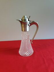 Vintage Leonard Italy Cut Glass Claret Wine Decanter Withandnbsp Silver Ornate Handle
