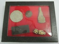 Civil War Relics Fired Bullets Domino Dice Penny Display Box Authentic Dug Items