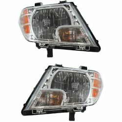 Headlight Headlamp Left And Right Pair Set Of 2 For 09-13 Nissan Frontier Truck