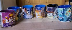 Set Of 6 Disney Coffee Cups Mugs Lady And The Tramp Aladdin Beauty And The Beast