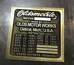 Deeply Etched Oldsmobile Brass Vin Id Patent Plate Patents 1896-1902 Curved Dash