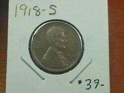 1918-s Lincoln Wheat Penny Nice Original Coin Higher Grade