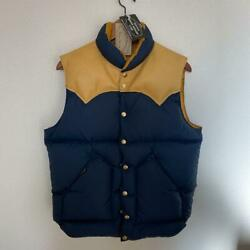 Rocky Mountain Feather Bed Men's Down Vest Size 40 Navy X Brown Used