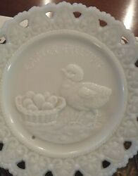 Eapg Antique Milk Glass Plate Easter Greetings Chick And Basket Of Eggs, 1880's