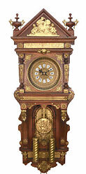 46 Highly Brass Decorated Ansonia Antique Hanging 2 Weight Driven Wall Clock