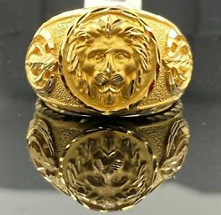 22k Ring Solid Gold Menand039s Custom Made Religious Loin Charm Ring R2976