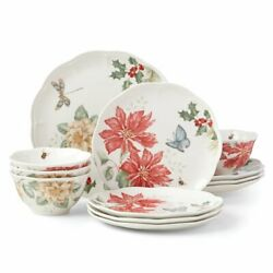 Lenox Butterfly Meadow Holiday 12 Pc Dinnerware Bowl And Plate Set G8737