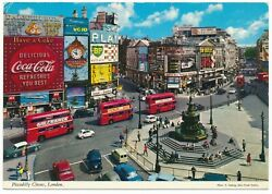 Piccadilly Circus London England Coca-cola Red Bus Eros Statue Uk Postcard 1970s