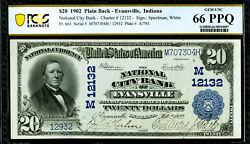 1902 20 Evansville, In National City Bank Pcgs 66 Ppq Gem Unc Wow Beautiful