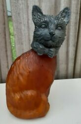 Andrea By Sadek Tin Chi Amber Brass Cat Body As Is No Lamp 1996