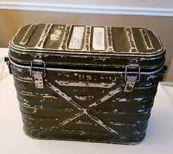 Vtg 1971 Us Military Wyott Hot/cold Food Container W/ 2 Metal Storage Sleeves