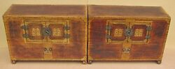 A Very Fine/rare Korean Pair Of Decorated Papier Marche Wood Chests-19th C.