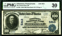 1902 100 Johnstown Pa Untied States Nb Pmg 30 Vf Forbidden Title Pb Fr 705