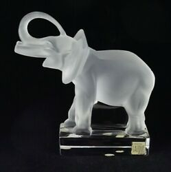 Lalique Elephant Vintage 1980and039s Trunk Up Glass Crystal Bookend Sculpture