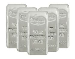 Lot Of 5 Ital Preziosi 10 Oz .999 Fine Silver Bars New Sealed With Assay Cards