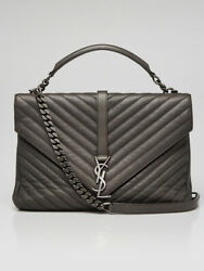 Yves Saint Laurent Grey Chevron Quilted Calfskin Leather Monogram Large College