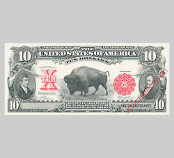 Bep Proof Print - 10 Legal Tender United States Note Series 1901 Face Bison