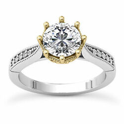 Solitaire Antique .80 Carat Vs2/h Round Diamond Engagement Ring 14k Yellow Gold