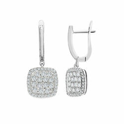 18ct White Gold Diamond Square Cushion Cluster Drop Earrings